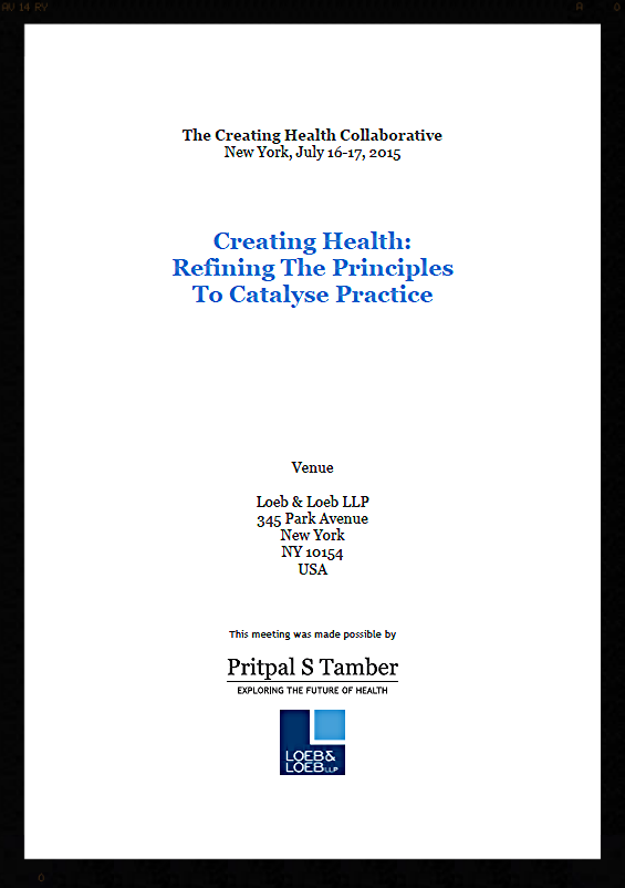 The agenda for the 2015 meeting of the Creating Health Collaborative