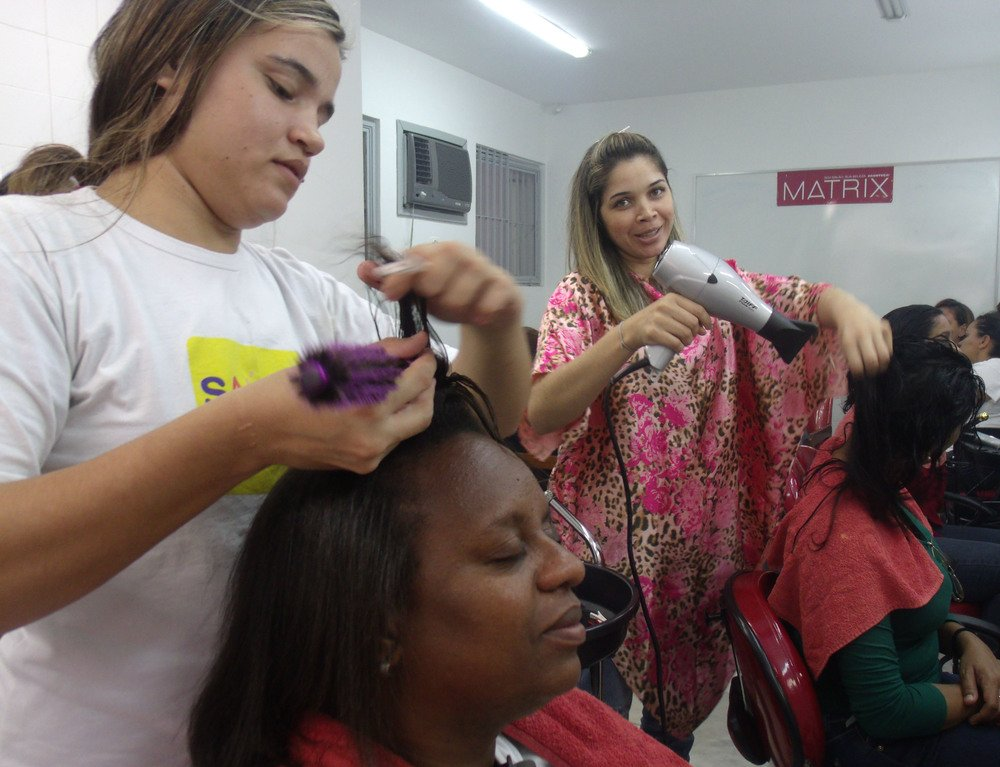 Training, in this case in hair and beauty, is a key part of the 'income generation' aspect of the family action plan