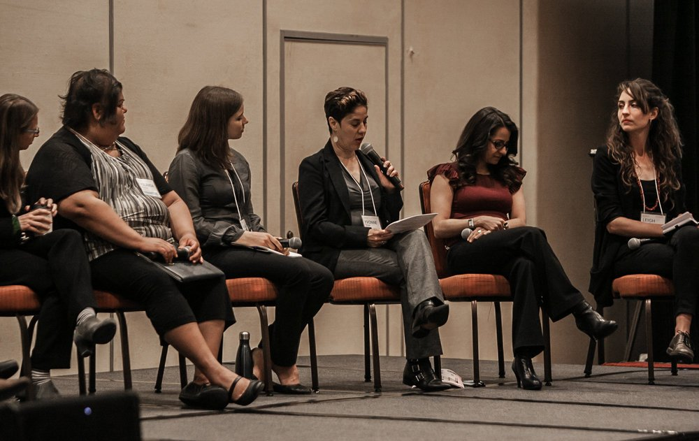 Leigh Carroll (far right) during the Case Examples session with speakers from South Kern, CA, and the Bronx, NY