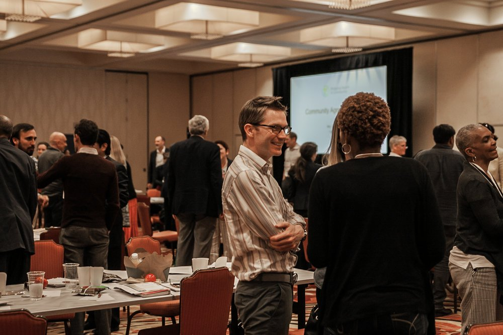 A 'get to know your neighbor' moment during the symposium (photo by Nicolle Bennett)
