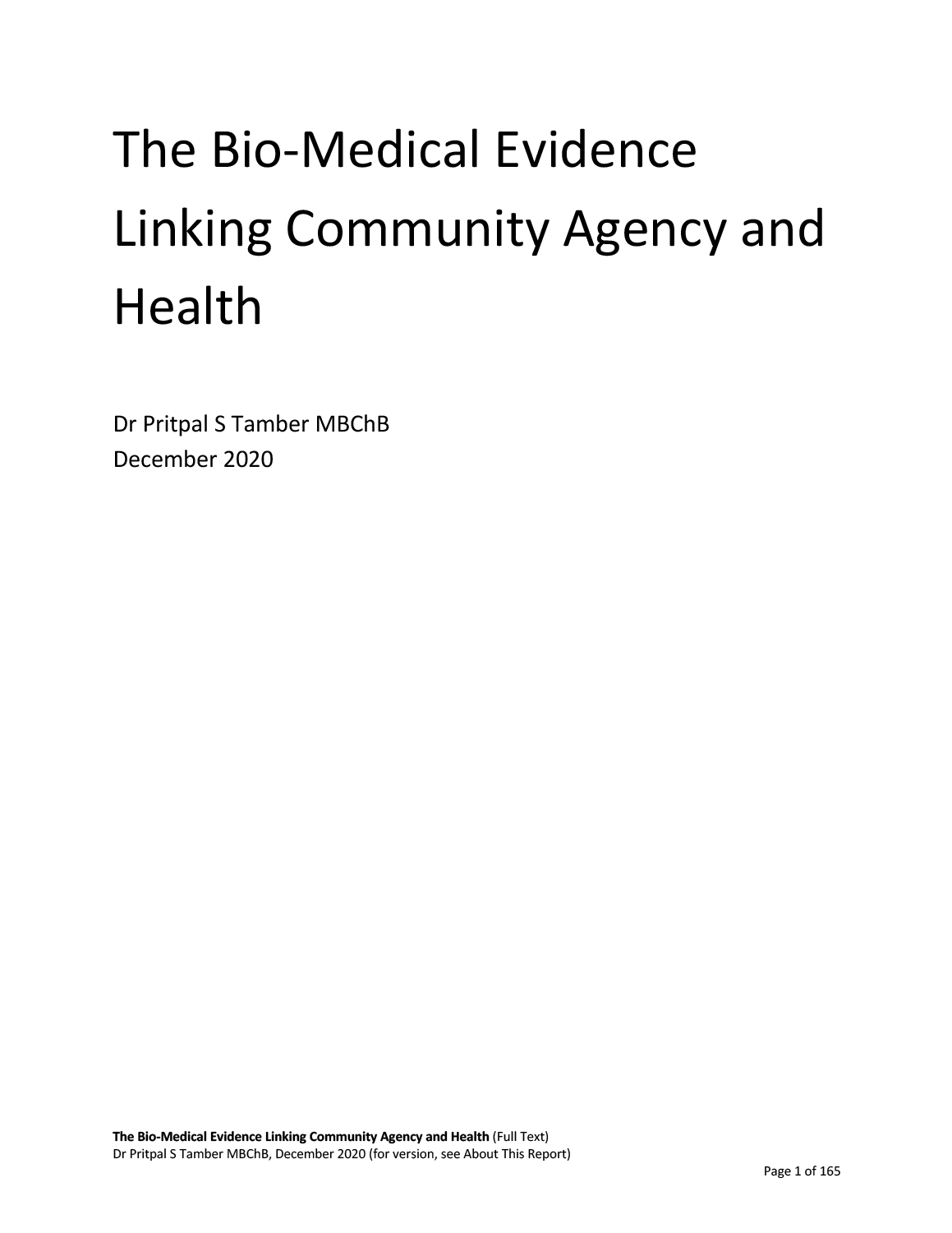 ThBio-Medical Evidence Linking Community Agency and Health
